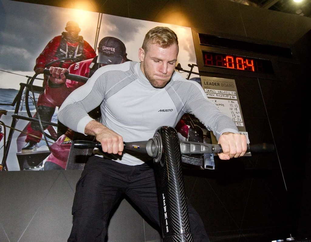 James Haskell sets a new record of 11.53 second on the Musto Winch Grinding Challenge at the Tullett Prebon London Boat Show, ExCeL, London. © onEdition http://www.onEdition.com