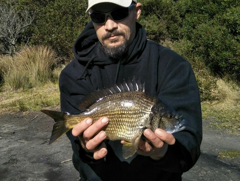 Nathan with a Black Bream caught from Curries River. - photo © Carl Hyland