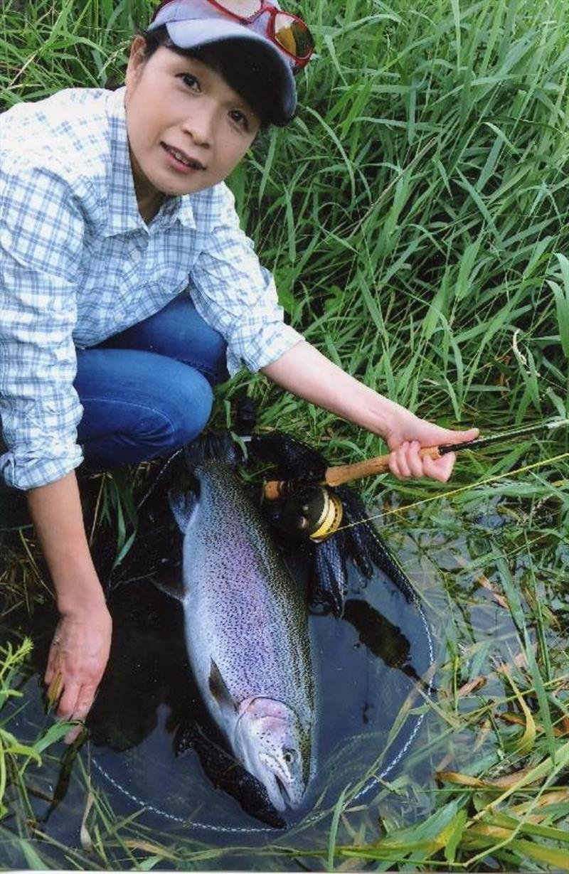 Japanese angler Yukiyo Okuyama caught and released this beautiful 4.19-kilogram (9-pound 3-ounce) rainbow trout (Oncorhynchus mykiss) on June 29, 2018 while fly fishing the Katsura River, Japan. - photo © IGFA