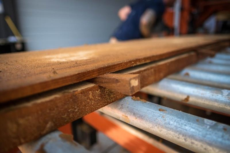 We re-saw to a 1/2` thickness on the transom, and a 1/4` on the aft bulkhead. - photo © Bayliss Boatworks