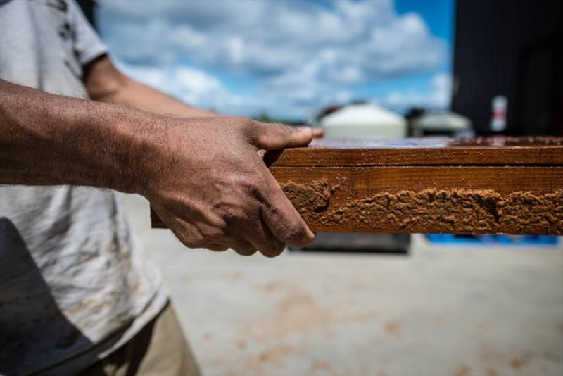 These smaller pieces are book-matched across each individual surface, allowing us to display teak from one tree. - photo © Bayliss Boatworks