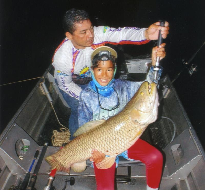 French angler Gael Commergnat - age 10 - caught and released this 13.83-kilogram (30-pounds, 8-ounce) giant trahira (Hoplias aimara) on July 24, 2018 while fishing Brazil's Rio Juruena. - photo © IGFA