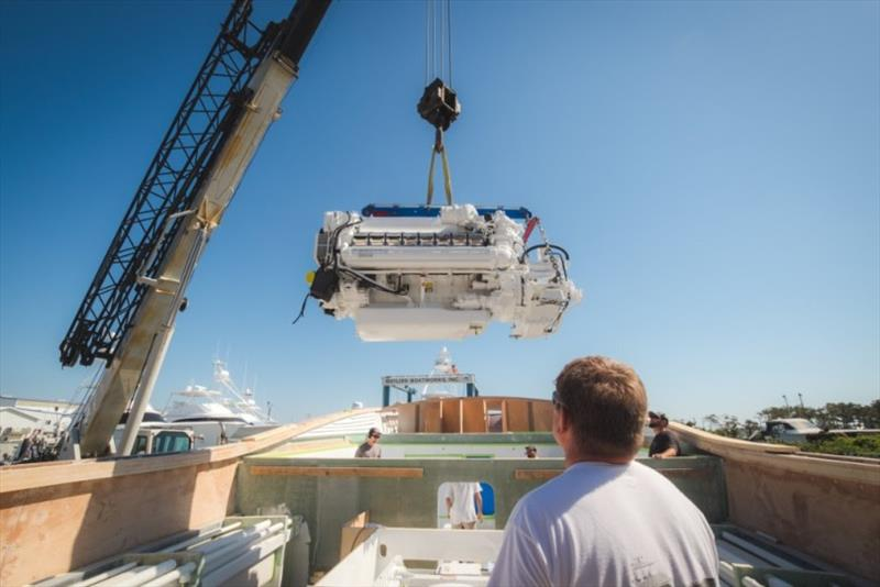 Installation of Blue View's main mechanical components - photo © Bayliss Boatworks