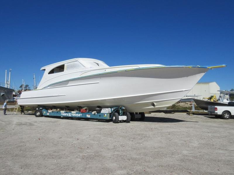 Hull 63 was moved to building 8 for her finishing touches - photo © Jarrett Bay Boatworks