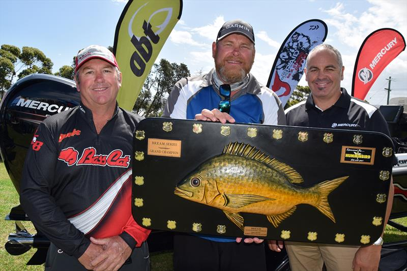 The happy winner - Jason Mayberry with Mercury's Andrew Small (right) and Bass Cat Australia's Craig Simmons- ABT Costa BREAM Series Grand Final photo copyright Mercury Marine taken at  and featuring the Fishing boat class