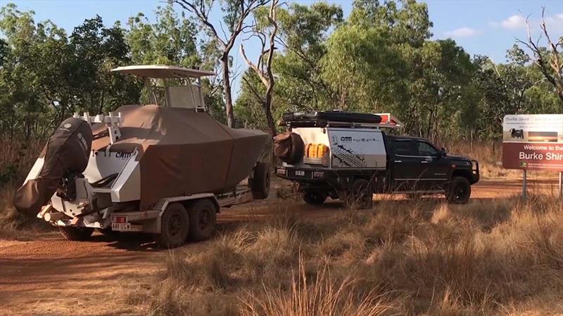 AMM's centre console and off road trailer reach the NT-Queensland border - photo © John Daffy
