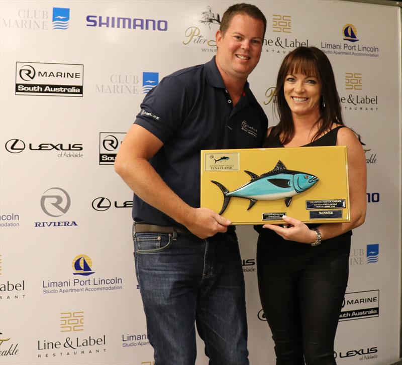 2018 Champion Female Angler Susan Czabayski received her award from Daniel Westbury - Riviera Port Lincoln Tuna Classic photo copyright Riviera Studio taken at  and featuring the Fishing boat class