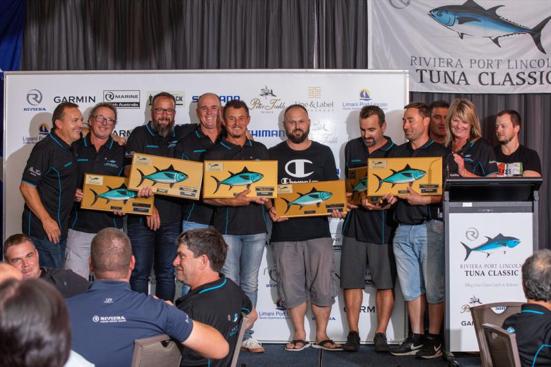 A tie! The crews Saltiga and Catfish, the winning Boats Over 8 Metres, receive their award - 2019 Riviera Port Lincoln Tuna Classic photo copyright Riviera Studio taken at  and featuring the Fishing boat class