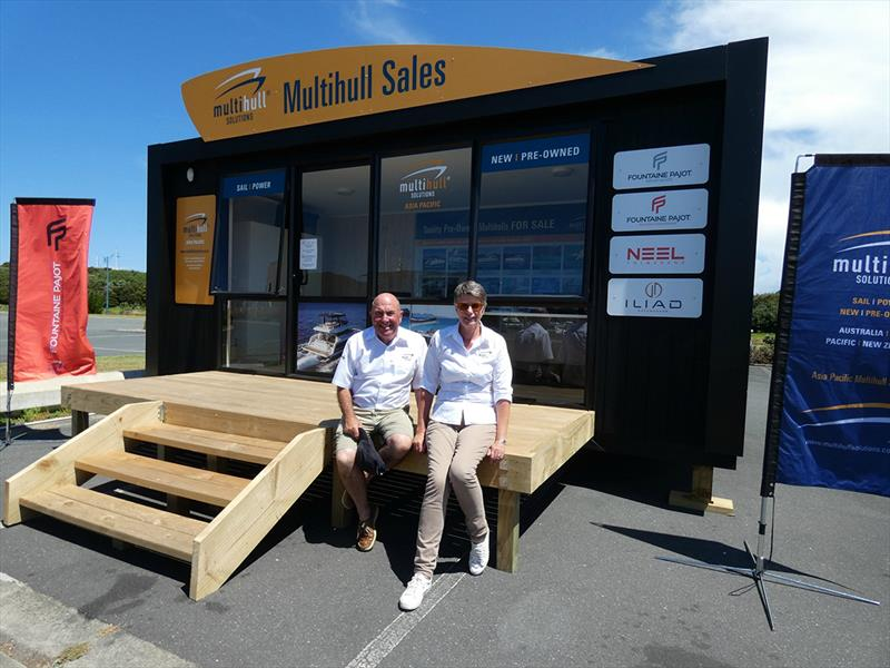 Ross Davies and Judith MacDonald at the New Zealand Sales Office in beautiful Whangarei - photo © Kate Elkington