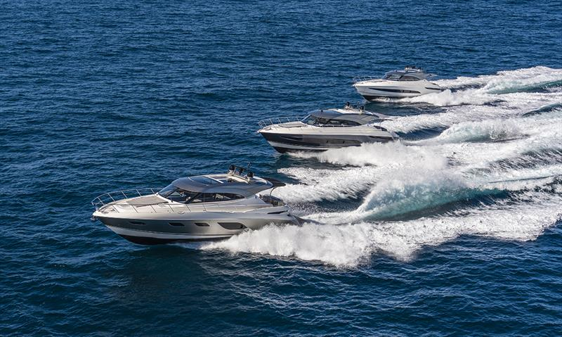 May saw the premiere of the new Riviera Platinum Edition Sport Yacht Collection - three models from the 6000 (left) to the 5400 and 4800 Series II models - photo © Riviera Studio