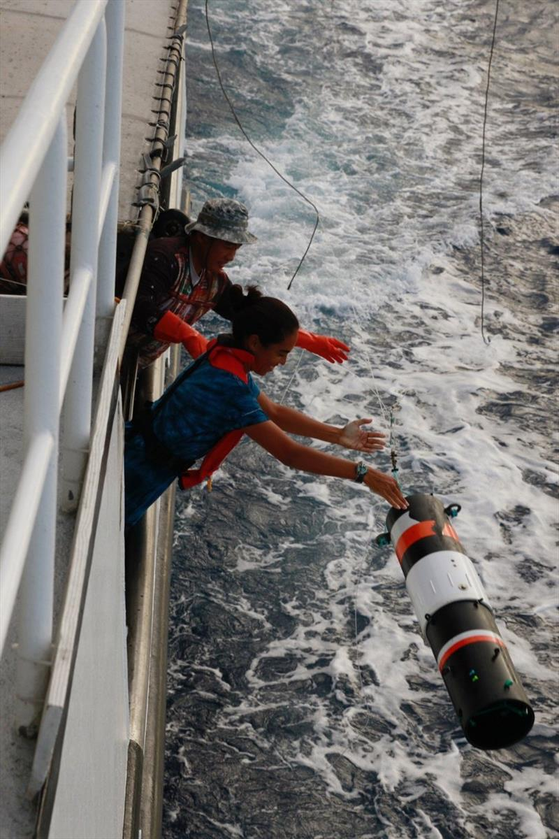 Holly and the boat crew deploy an acoustic recorder photo copyright NOAA Fisheries taken at