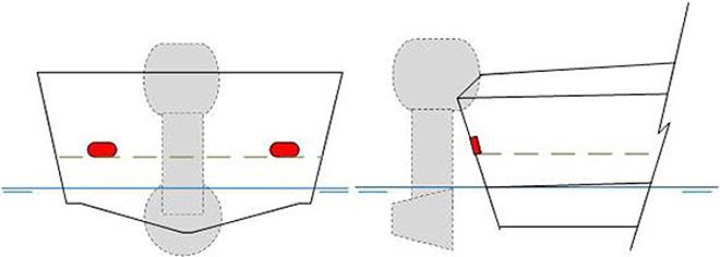 Diagram showing a boat's transom and scuppers, shown in red. photo copyright Maritime Safety Victoria taken at