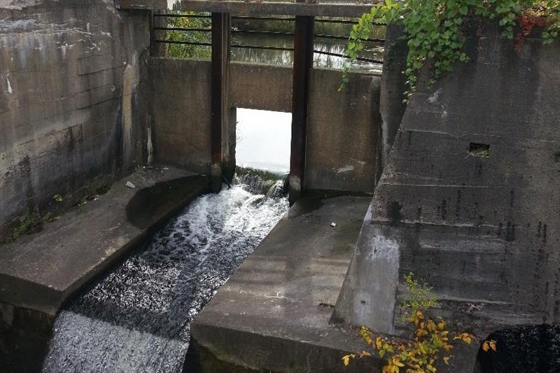 The Alcott Dam, which blocked fish from passing, before its removal. - photo © U.S. FWS / Lisa Williams