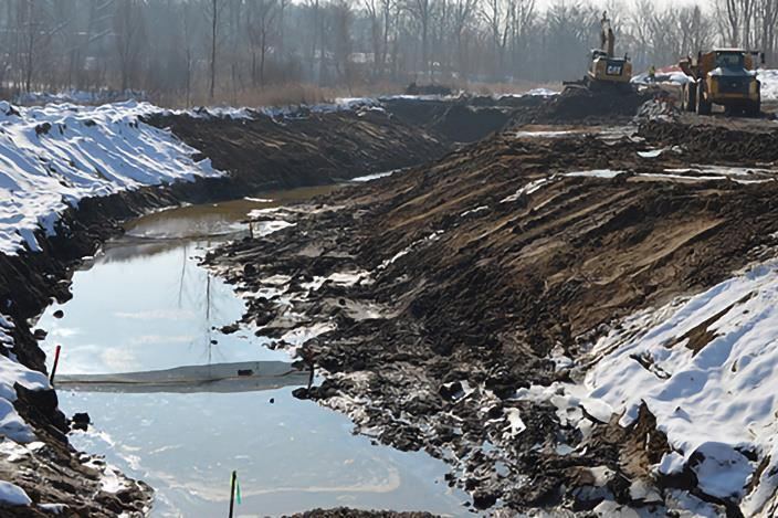 A portion of Portage Creek at the former Alcott Street Dam location during restoration. - photo © USFWS / Lisa Williams
