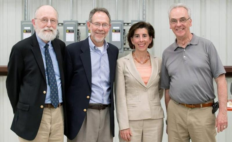 URI Graduate School of Oceanography Dean Bruce Corliss, WHOI VP of Marine Facilities & Operations Rob Munier, Rhode Island Governor Gina Raimondo, and WHOI President & Director Mark Abbott (left to right) attended keel-laying ceremony of R/V Resolution. - photo © Crystal Sanderson