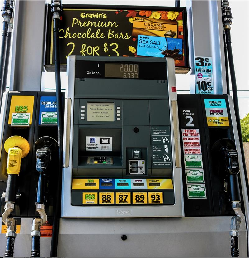 "E15 gasoline is illegal for use in boats, many other vehicles, and power equipment. Can you spot any effective warning label indicating the increased 15% ethanol content in the ""regular 88"" fuel? photo copyright National Marine Manufacturers Association taken at"