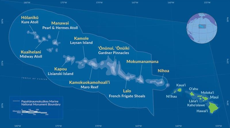 Map of the Northwestern Hawaiian Islands and the Papahanaumokuakea Marine National Monument. Pearl and Hermes Atoll (Manawai), the location of this study, is at the northern reaches of the island chain. - photo © NOAA Fisheries
