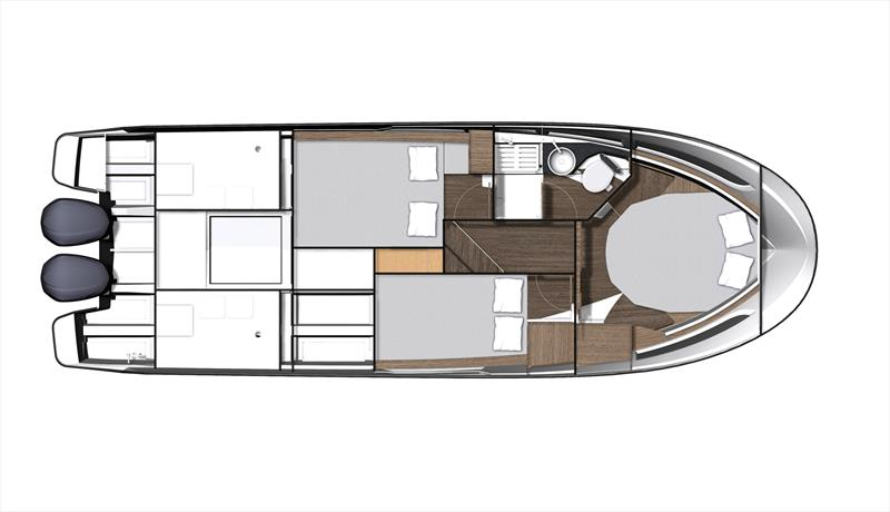 Below deck level plan for the Merry Fisher 1095 - photo © Jeanneau