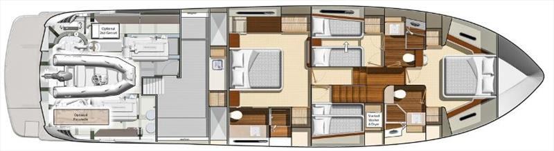 Classic master stateroom layout, with aft utility room - photo © Riviera Australia