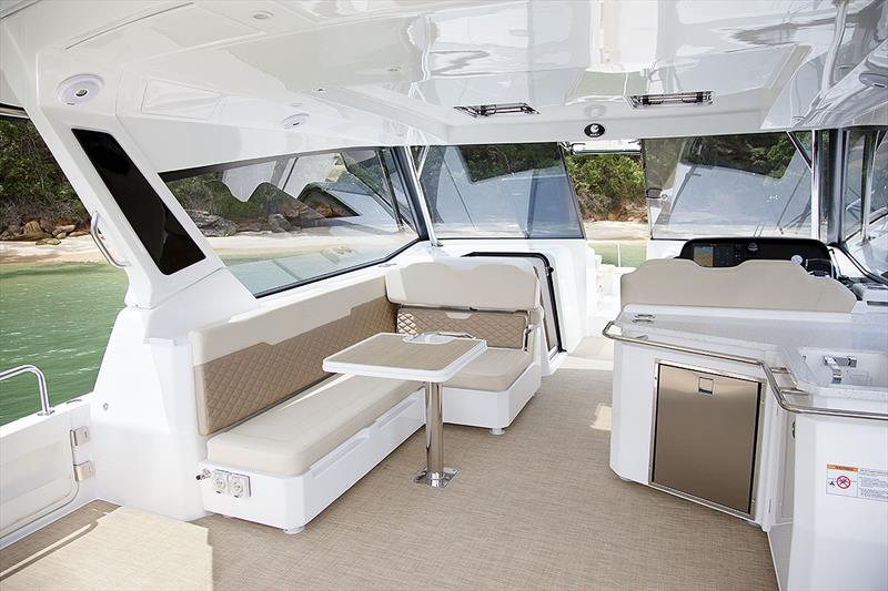 Aquila 36 with the plush, ultra leather mocha trim, and soft touch carpet - photo © John Curnow
