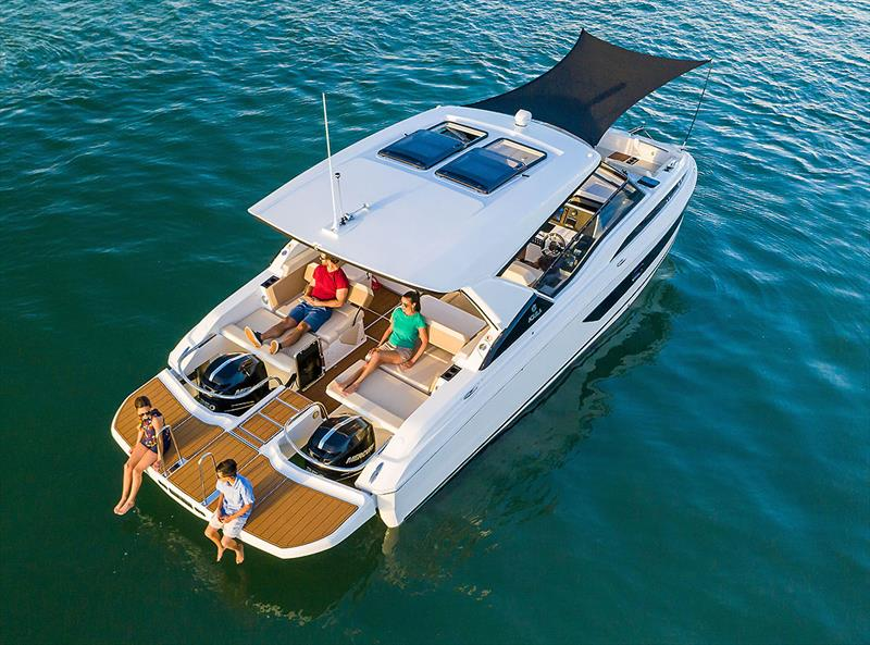 The Aquila 32 at rest and offering relaxation options for everyone - photo © Aquila Powercats