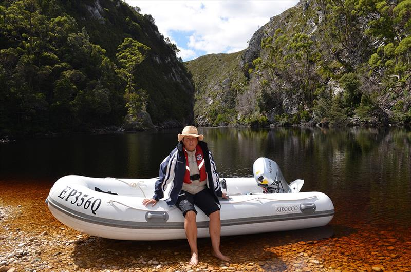 Taking Pascua Lama's tender into a Tasmanian river gorge. photo copyright Riviera Australia taken at  and featuring the Power boat class