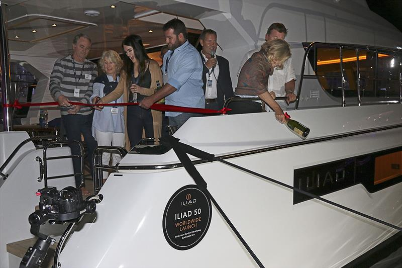 New owners of the first vessels celebrate the launch of the new Iliad brand of powercats photo copyright John Curnow taken at  and featuring the Power boat class