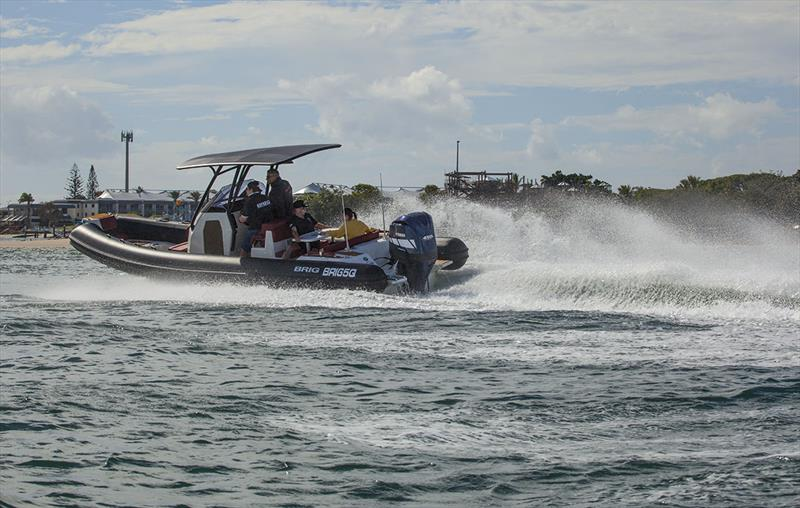 Terrific turn in, and the torque of the Nizpro 450s just keeps you going, with no drop in revs. photo copyright John Curnow taken at  and featuring the Power boat class