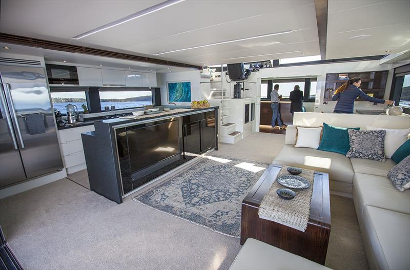 Massive entertaining spaces aboard the ILIAD 70 photo copyright John Curnow taken at  and featuring the Power boat class