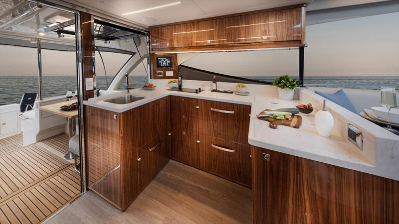 Galley fit for a magnificent meal - Riviera 505 SUV World Premiere photo copyright Riviera Australia taken at Southport Yacht Club and featuring the Power boat class