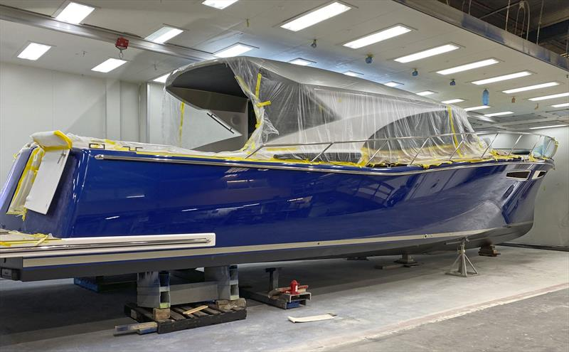 Displaying her true colours - the first Cape50 nears completion... photo copyright Cape Motor Yachts taken at  and featuring the Power boat class