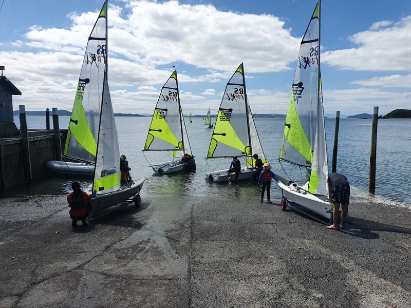 Light winds made for tactical sailing off Maratai Sailing Club photo copyright NZ Sailcraft taken at  and featuring the RS Feva class