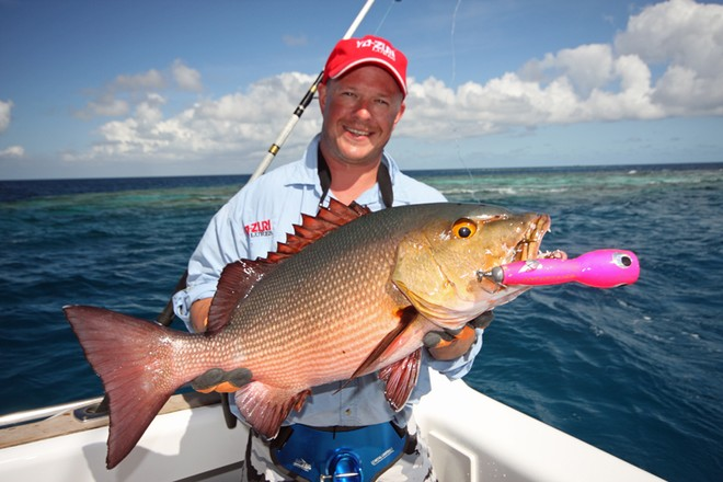 Surface popping is highly effective in the tropics. Red bass and giant trevally are a common catch. © Jarrod Day