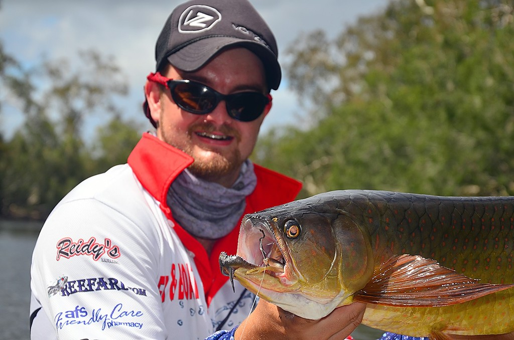 Check out the dental hardware on that saratoga!  Lee was only using 20lb leader and was lucky his worm hook found the corner of the fish's jaw. © Lee Brake