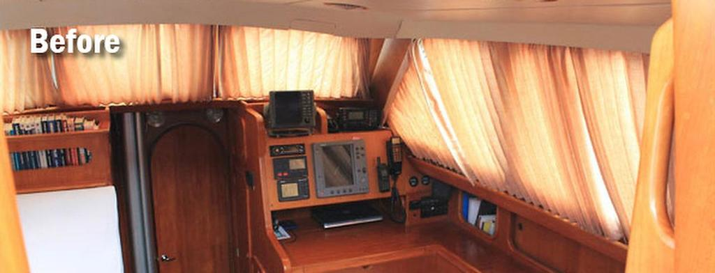 Savaras, wheelhouse interior - before being fitted by Oceanair © SW