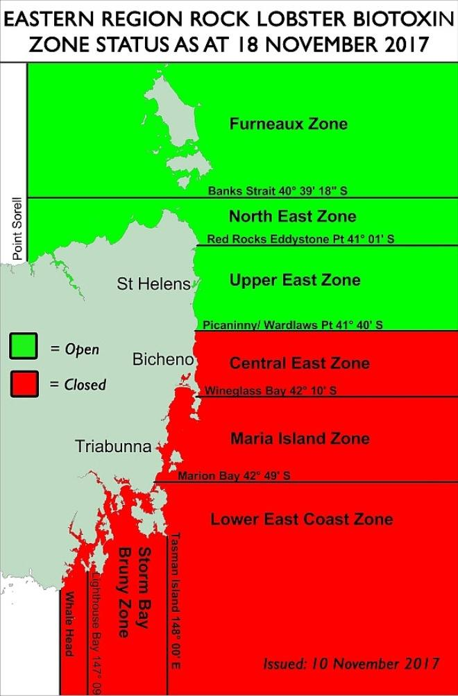 Eastern Region open/closed status from 18 November 2017.  Open zones are depicted in green.  Closed zones are depicted in red. © DPIPWE