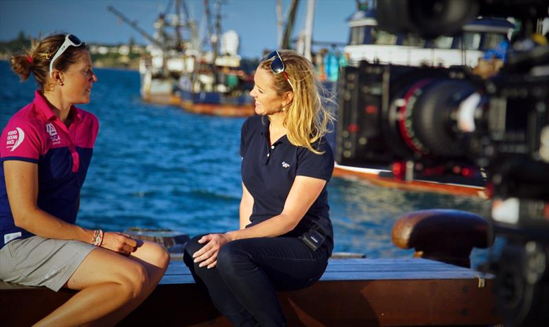 Shirley Robertson interviews Sam Davies, skipper of Team SCA in the 2014/2015 edition of the Volvo Ocean Race - photo © Image courtesy of Shirley Robertson Collection