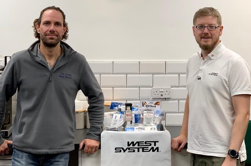 George Isted wins a mega-bundle of West System epoxy goodies - pictured with Hamish Cook photo copyright Wessex Resins & Adhesives taken at  and featuring the  class
